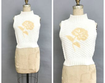 80s mock neck sweater tank top