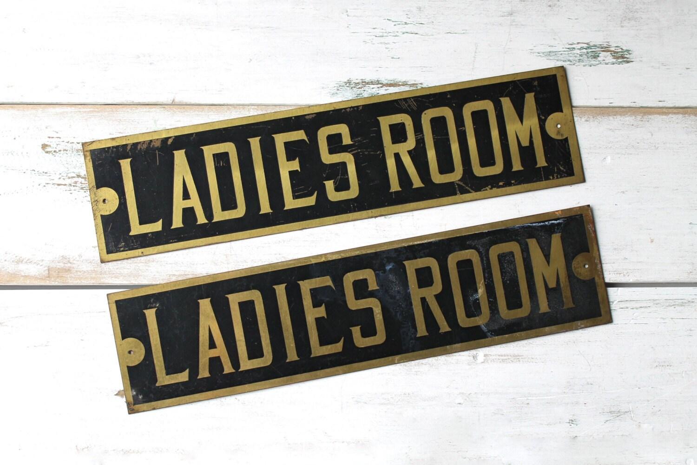 Ladies room sign vintage bathroom sign restroom powder room for Ladies bathroom sign
