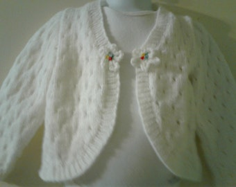 Handknit infant Lace Bolero sweater, soft white yarn, Size 24 months - 2T