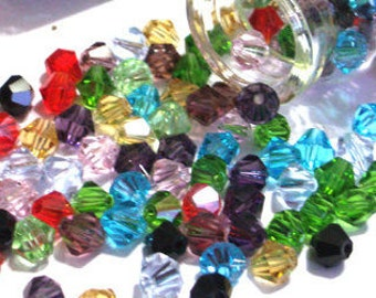 150 Pieces 6mm Crystal Bicone Glass Beads in Glass Bottle With Cork Bicone Crystals Crystal Beads Crystal Glass Beads