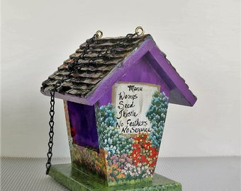 Small Purple Birdfeeder , Handcrafted of Pine , Hand Painted , with Menu and Lots of Flowers