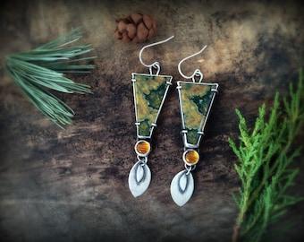 sterling silver earrings, Rhyolite and amber gemstone earrings, Trapezoid earrings, artisan earrings, metalsmith earrings, green and yellow