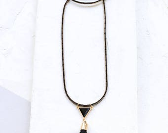Solo Necklace, Black and Gold Necklace, Long Necklace, Triangle Pendant Necklace, Tassel Necklace, Mala Necklace, Statement Necklace
