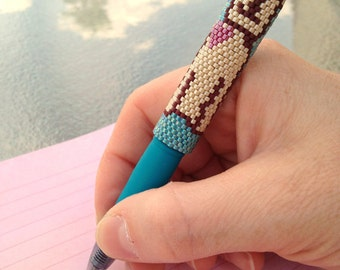 Pen with Beaded Sleeve Cover - Reusable - Puppy