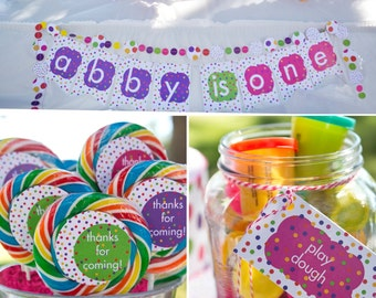 Polka Dots Birthday PRINTABLE Party Collection - You Customize EDITABLE TEXT >> Instant Download << Paper and Cake