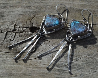 Chrysocolla Tinsel Earrings Hand Fabricated Sterling Silver