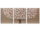 Pink and Brown Nursery Art Decor Canvas Tree Painting Triptych - Large 50X20