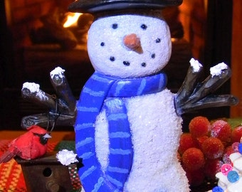 Snowman  Pretty blue  glimmering crystal ceramic snowman with metal birdhouse and red cardinal