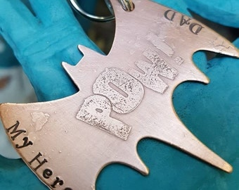 POW, big bat keychain, super hero gift, father's day gift, bff gift, dad gift, etched keychain