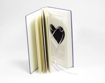 """Purple Ring Holder Hollow Book """"Love Stories"""" Proposal Anniversary Ring Box Heart Shaped Cut Out Handmade Engagement Idea - READY TO SHIP"""
