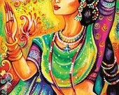 Indian classical dance art, Indian decor, beautiful Indian woman painting, wall decor, Magic of dance, poster woman wall, 8x11+