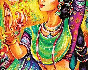 Indian classical dance art, Indian decor, beautiful Indian woman painting, wall decor, Magic of dance, poster woman wall print 8x11+