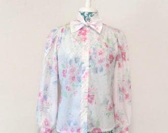 vintage floral blouse // 1980's purple pink green puffed sleeves // 80's pastels bow Spring