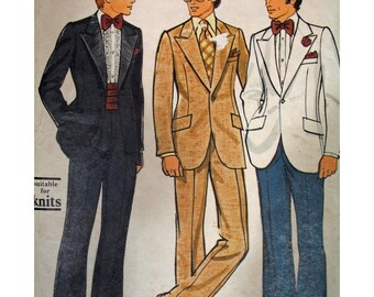 Vintage 1970s Vogue Patterns for Men Suit and Tuxedo Pattern  #8890 SZ 36