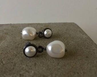 baroque pearl drop earrings white