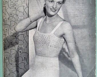 Vintage Knitting Pattern 1930s 1940s Women's Lingerie Vest and Knickers Underwear Undies 30s 40s original knitting pattern P & B No. 846 UK