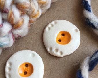 2 Ceramic Buttons - Fried Eggs - Handmade Buttons