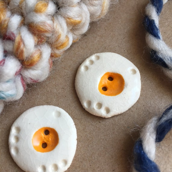 2 Ceramic Buttons - Fried Eggs - Handmade Buttons