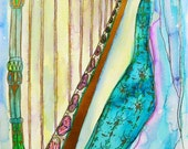 RESERVED LISTING - 8 X 10 VERSION Joanna Newsom and Her Fairytale Harp - Art print from Original Painting