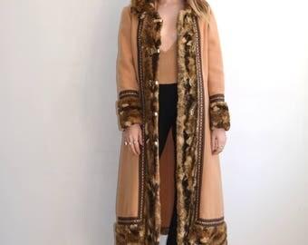 Vintage 70's Embroidery + Fur Coat/ Penny Lane/ Hippie Winter Coat/ Norwegian Princess Jacket/Medium