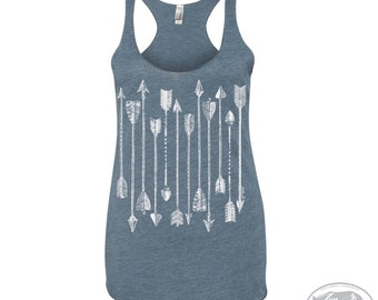 Women's ARROWS Collection -hand screen printed Tri-Blend Racerback Tank Top xs s m l xl xxl  (+Colors)