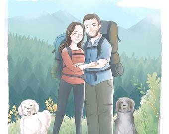 Illustrated custom portrait (Cute soft style + bg) Family pet portrait, custom illustration, anniversary present, wedding gift