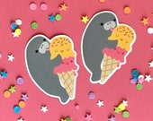 Manatee & Ice Cream Vinyl Sticker