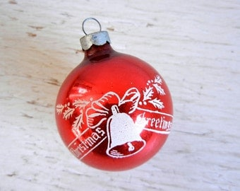Vintage Christmas Red Stenciled Ornament | Made in USA | Christmas Greetings Ornament | Bell Ornament