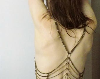 Bronze Corset Body Jewelry - Polaire: Bronze and Antiqued Gold Chain Corset
