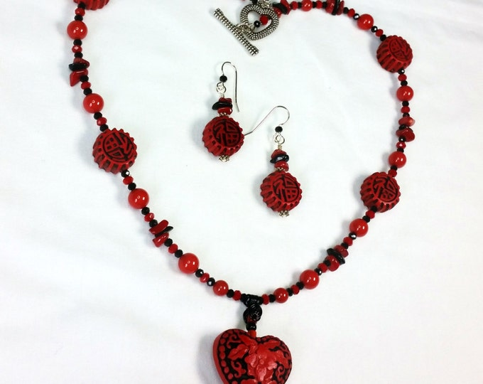 Red Faux Cinnabar Sweetheart Necklace Set