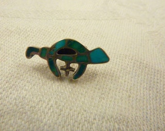 Antique Sterling Silver Turquoise Shriners Lapel Pin