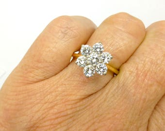 Stunning Vintage Diamond Cluster engagement ring English 18ct Gold Halo flower daisy VS 1.12ct Anniversary Statement Dinner ring *FREE Ship