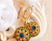 35% Off SALE Victorian Earrings - Crystal Cluster Earrings - Green Rhinestone Earrings - Bridesmaid Gifts - AURORA Spring Green