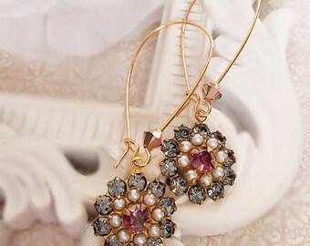 Crystal Flower Earrings - Romantic - Victorian Earrings - FIORE Plum