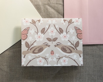Sparrow and Cherry Blossoms spring botanical blank note cards and envelopes set of six