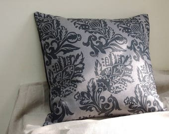 Jacobean Floral hand block printed charcoal black on gray linen historical home decor decorative pillow cover