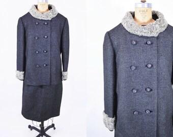 1950s suit vintage 50s charcoal gray wool fur collar suit jacket skirt L W 30