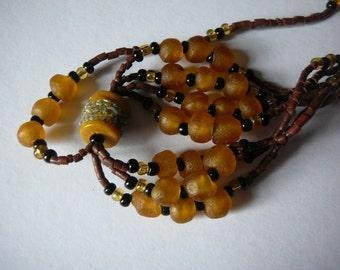Vintage Krobo Glass Beaded Necklace - Ghana - Gold/Brown