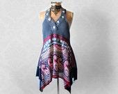 Lagenlook Top Ethnic Print Layered Shirt Boho Hippie Tunic Women's Eco Fashion Denim Blue Funky Art Clothing Festival Clothes M L 'MAISY'