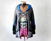 Women's Owl Shirt Grey Boho Hoodie Lagenlook Top Woodland Clothes Whimsical Fashion Upcycled Clothing Hooded Tunic Loose Fitting XL 'SIMONE'