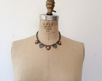 40s vintage necklace / chain choker necklace / Corazon necklace