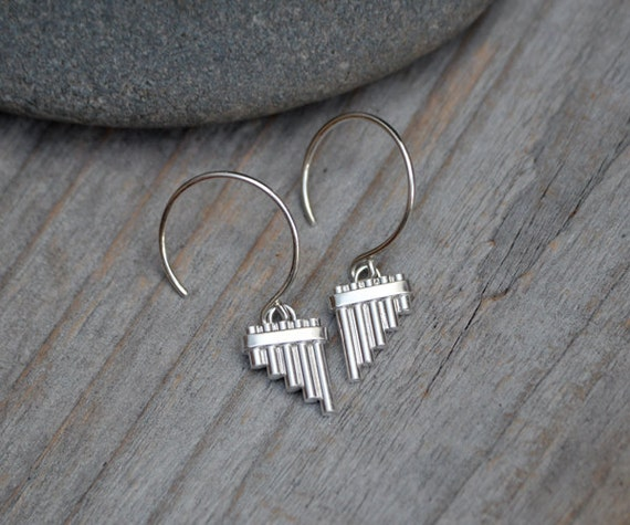 Pipe Earrings In Solid Sterling Silver, Handmade In The UK