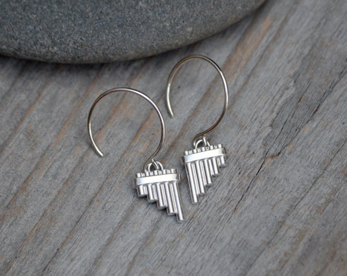 Pan Pipe Earrings In Solid Sterling Silver, Handmade In The UK