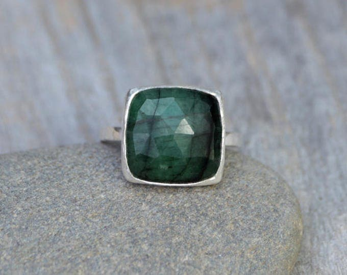 Rose Cut Emerald Ring, 5.35ct Emerald Ring, May Birthstone, Emerald Gift, Handmade In The UK