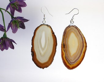Brown Agate Slice Earrings, Agate Earrings, Agate Natural Earrings, Boho Jewelry, Raw Agate, Stone Earrings, Brown Crystal Agate, ASE56
