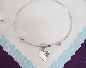 Compass Bangle Bracelet Silver, Friend Bangle, Expandable, Sterling Silver, BFF Bracelet, Distance Charm Bangle, Friendship, Monogram