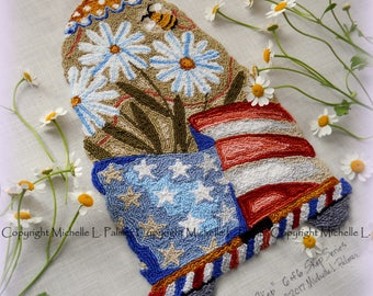 Flag America Americana Daisy Skep Hive Honeybee Bee Punch Needle Embroidery DIGITAL Jpeg PDF PATTERN Michelle Palmer Painting w/Threads