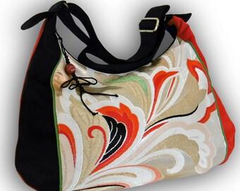 Crossbody Bag/ Japanese Vintage Brocade Obi Recycled / Black, Red/ Vine Spiral Pattern