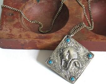 Vintage Egyptian Revival Pendant Necklace // silver pharaoh turquoise blue beads hippie boho