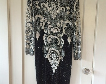 Fully Beaded Embellished Sequin Long Sleeved Black and White Formal Midi Gown Cocktail Party Dress - Size Small